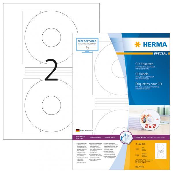 Herma CD Labels              116 100 Sheets DIN A4 200 pcs. 4471 4471