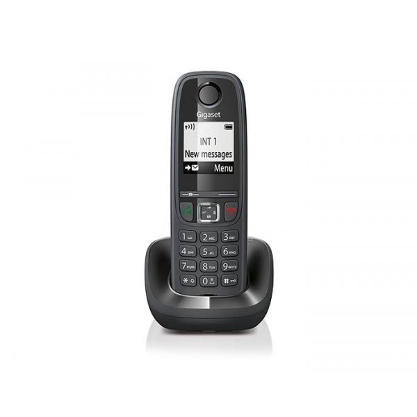 TELEFONO CORDLESS GIGASET AS405 S30852H2501K101 Black DECT display alfanum., ID chiamate, 10 suonerie, rubrica 100 nomi VIVAVOCE