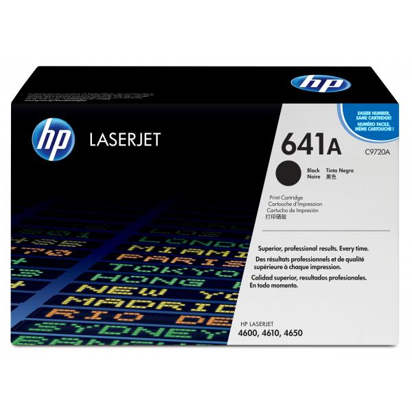 HP CLJ 4600 4650 Black Print Cartridge HP Color LaserJet All-in-one Smart Print Crtg contains toner, developer and imaging drum.  Approx crtg yield 9,000 pages based on 5% coverage *DAMAGED BOX* - C9720A