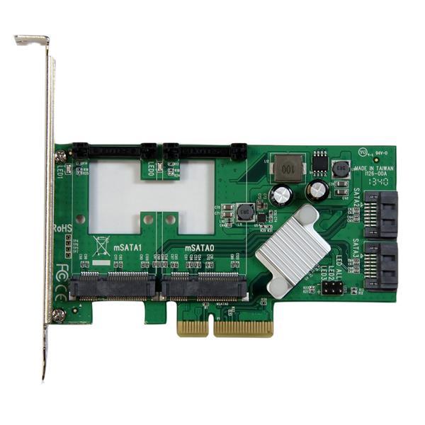 StarTech.com Scheda Controller PCI express 2.0 SATA III Raid 6 Gbps a 2 porte con 2 slot mSATA e SSD HyperDuo Tiering 0065030859394 PEXMSATA3422 10_V933319