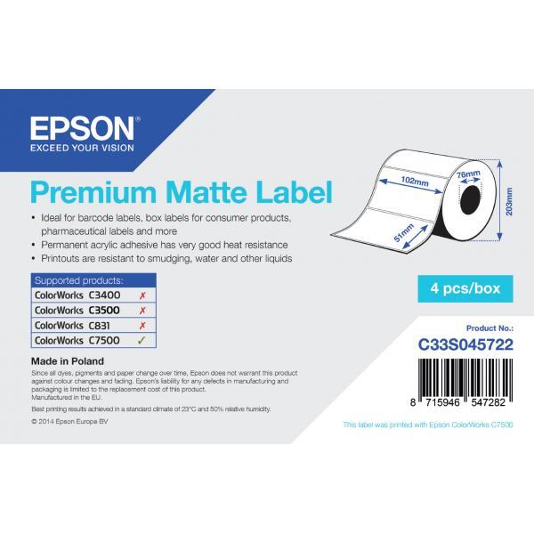 Epson Premium Matte 102mm x 51mm, 2310 Bianco Opaco 8715946547282 C33S045722 10_235H701