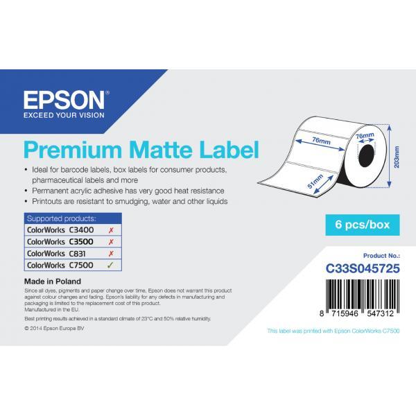 Epson Premium Matte 76mm x 51mm, 2310 Bianco Opaco 8715946547312 C33S045725 10_235H704