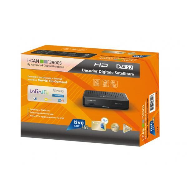 Ricevitore digitale satellitare i-CAN 3900S 2 Lettori SmartCard USB Scart