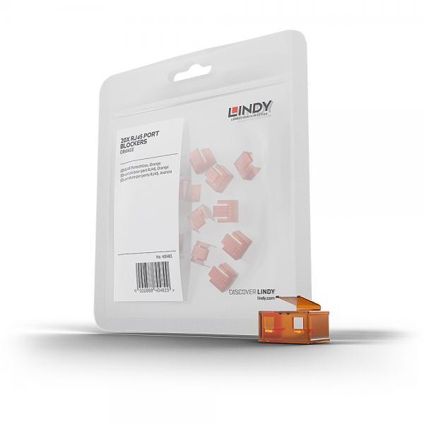 Blocca Porte RJ45 Arancione, 20 Pezzi
