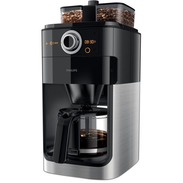 Philips HD7766/00 Grind & Brew Filterkaffeemaschine mit Glaskanne und Mahlwerk Edelstahl/Schwarz HD7766/00