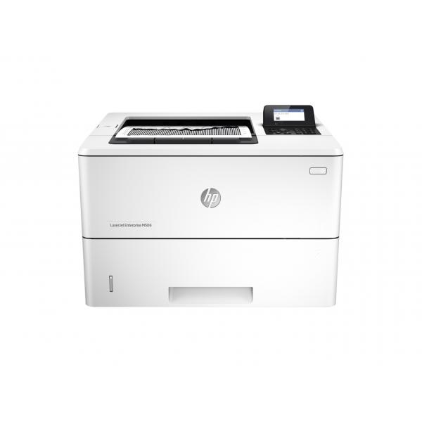 HP LaserJet Enterprise M506dn Printer. 43ppm A4/45ppm letter mono single-func printer duplexer optional HIP 4-line LCD with 10key pad 100 bypass tray 550-sheet tray front USB. HP LJ Enterprise M506dn Prntr:EUR - F2A69A#B19