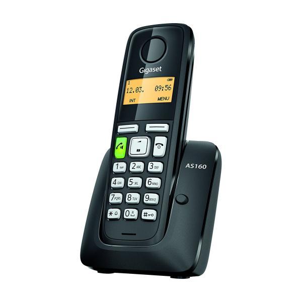 TELEFONO CORDLESS GIGASET AS160 S30852H2411K121 Black DECT display alfanum., ID chiamate, 10 suonerie, rubrica 80 nomi VIVAVOCE