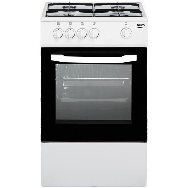 Beko CSG42000DW - Cucina da Libero Posizionamento, 4 Fuochi a Gas, Forno a Gas, 50x50 cm