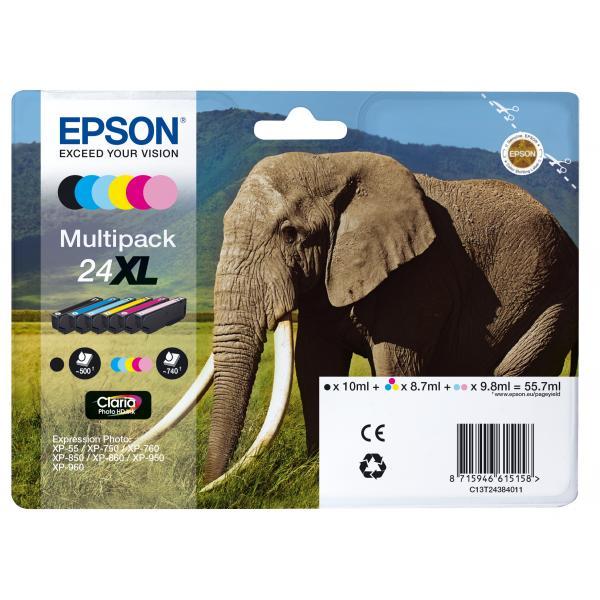 Epson C13T24384011 8.7ml 10ml Nero, Ciano, Ciano chiaro, Magenta chiaro, Giallo cartuccia d'inchiostro 8715946615158 C13T24384011 10_235L105