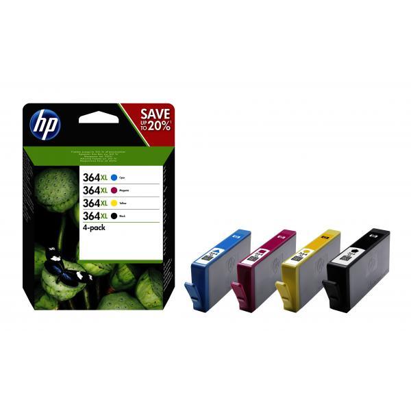 HP Confezione da 4 cartucce originali di inchiostro nero/ciano/magenta/giallo ad alta capacità 364XL 0889894508911 N9J74AE COM_49561