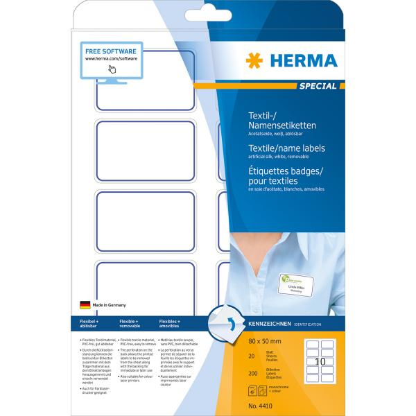 Herma Textile/Name Labels  80x50 20 sh.DIN A4 wh/blue 200pc. 4410 4410