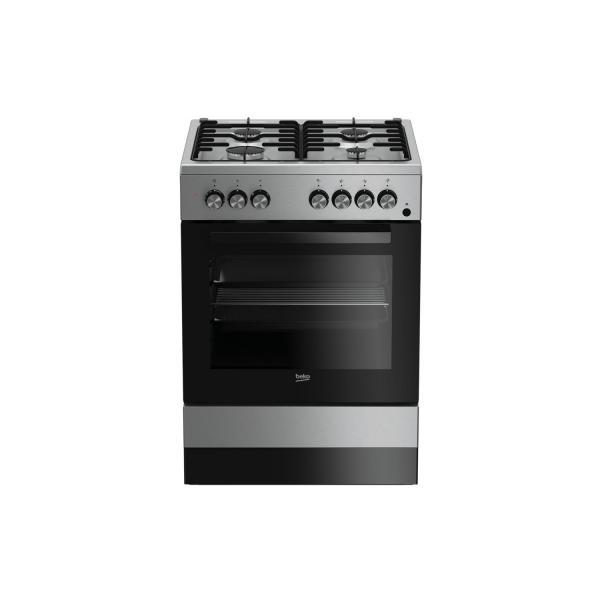 Beko FSE62110DX - Cucina da Libero Posizionamento, 4 Fuochi a Gas, 66 Litri, A