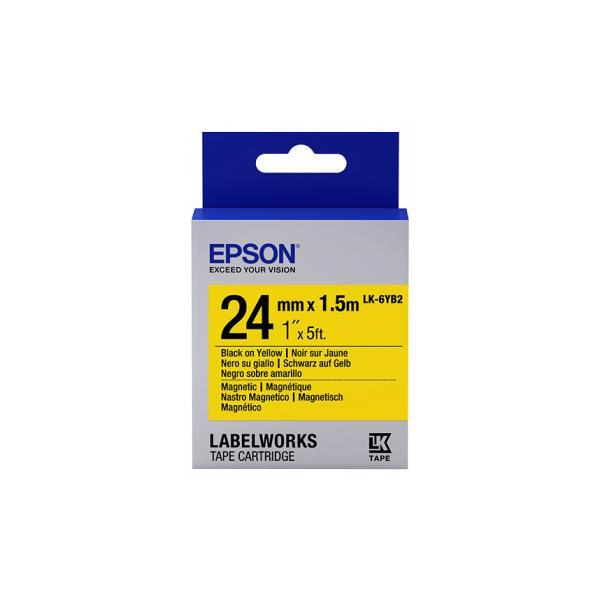 Epson Epson Nastro magnetico per etichettatrici LK-6YB2 nero/giallo 24 mm (1,5 m) nastro per etichettatrice
