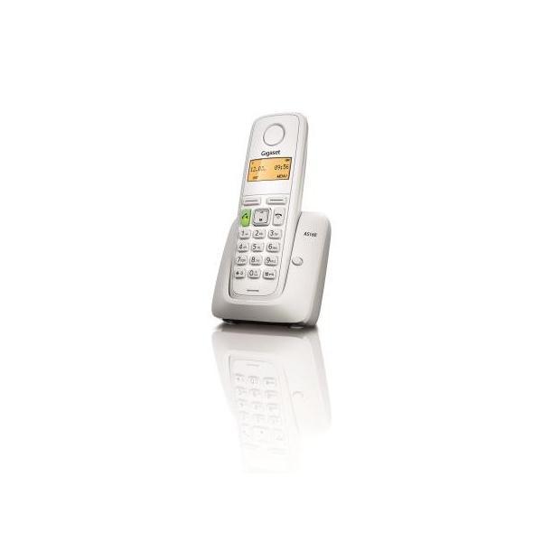 TELEFONO CORDLESS GIGASET AS160 S30852H2411K122 White DECT display alfanum., ID chiamate, 10 suonerie, rubrica 80 nomi VIVAVOCE