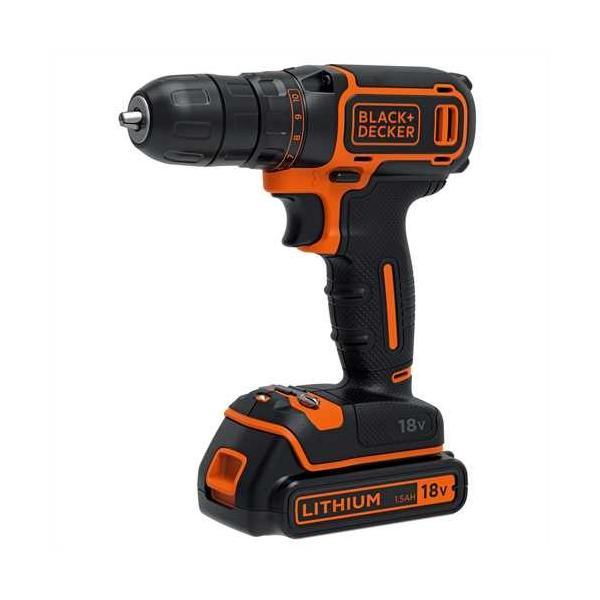 Black & Decker BDCDC18KB Trapano con impugnatura a pistola Ioni di Litio 1.5Ah Nero, Arancione 5035048645611 BDCDC18KB-QW TP2_BDCDC18KB-QW