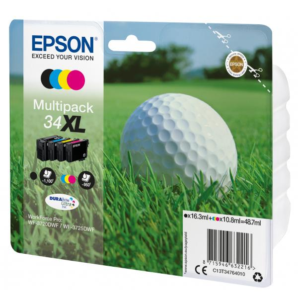 Epson Multipack 4-colours 34XL DURABrite Ultra Ink 10.8ml 16.3ml Nero, Ciano, Giallo cartuccia d'inchiostro 8715946632216 C13T34764010 10_235M530