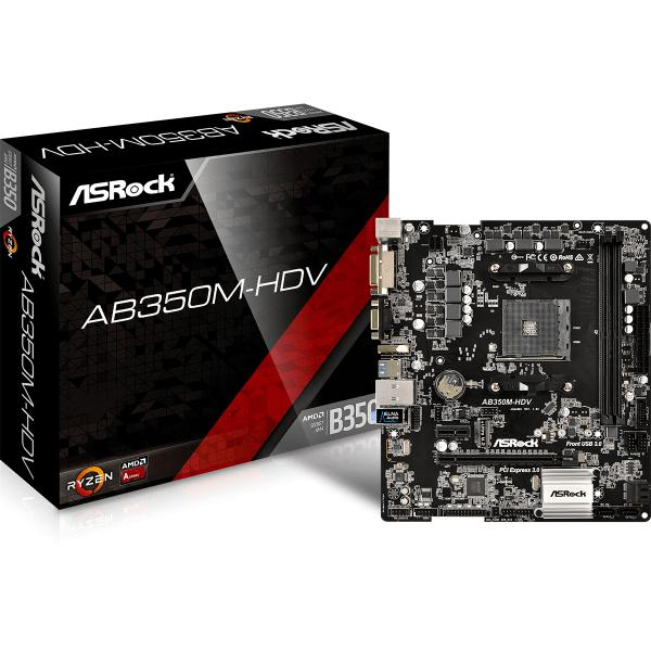 Asrock AB350M-HDV AMD B350 Socket AM4 Micro ATX scheda madre 4717677333213 90-MXB3P0-A0UAYZ 07_40642