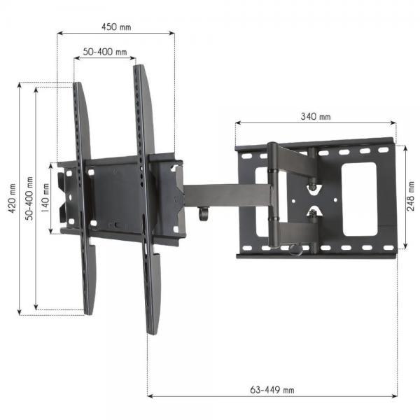 ICA-PLB 148M - Supporto a Muro per TV LED LCD 32-55'' Estensibile Slim Full-Motion