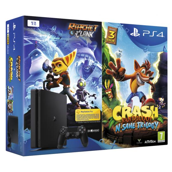 Sony PS4 1TB + Ratchet & Clank + Crash Bandicoot: N'Sane Trilogy 1000GB Wi-Fi Nero 0711719839767 9891062 TP2_9891062