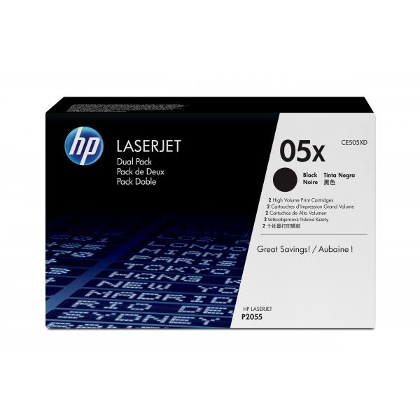 HP LaserJet P2055 Black Crtg Dual Pack - CE505XD
