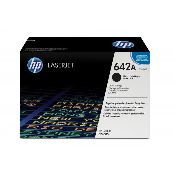 HP Color LaserJet CP4005 Black Cartridge Contains one HP Color LaserJet CP4005  black print cartridge with an average  yield of 7,500 pages - CB400A