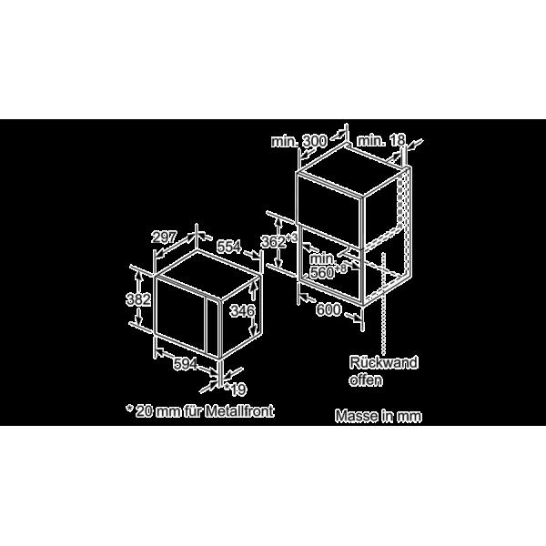 Microonde da Incasso BOSCH BFL520MS0 20 L 800W Nero