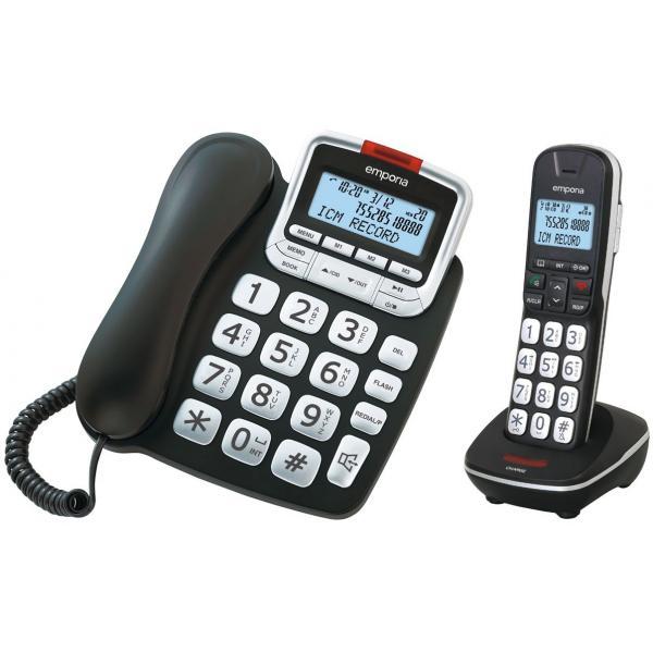 Emporia GD61ABB telefono Telefono analogico/DECT Identificatore di chiamata Nero, Argento