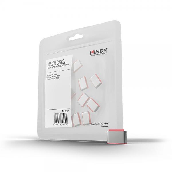 Blocca porte USB Tipo C (senza chiave), 10 pezzi, rosa