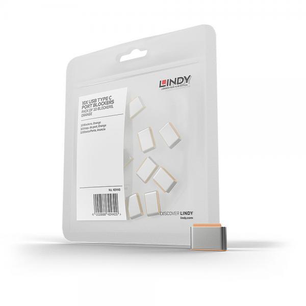 Blocca porte USB Tipo C (senza chiave) ? 10 pezzi, arancione