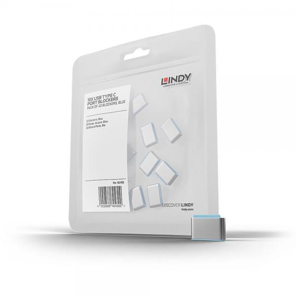 Blocca porte USB Tipo C (senza chiave) ? 10 pezzi, blu