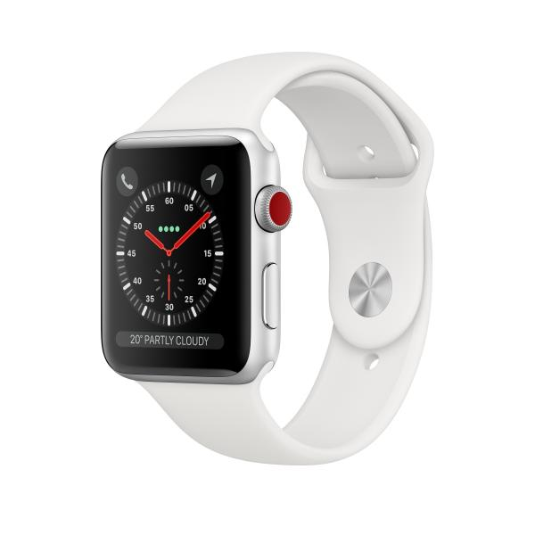 Apple Watch Series 3 GPS + Cellular, 42mm Silver Aluminium Case with White Sport Band