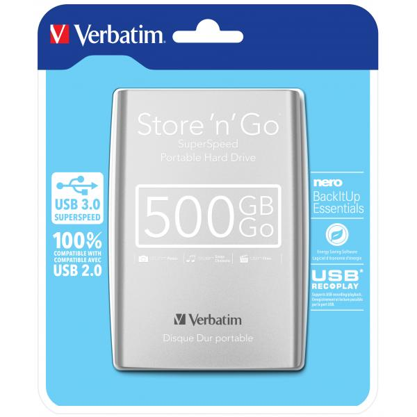 Verbatim Store 'n' Go 500GB Argento disco rigido esterno 0023942530213 53021 14_53021