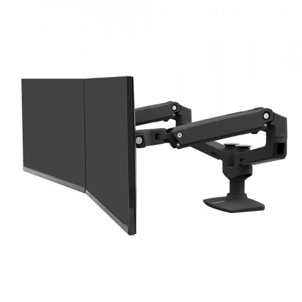 Ergotron LX Dual Monitorarm für zwei Monitore, Tischhalterung (Schwarz)