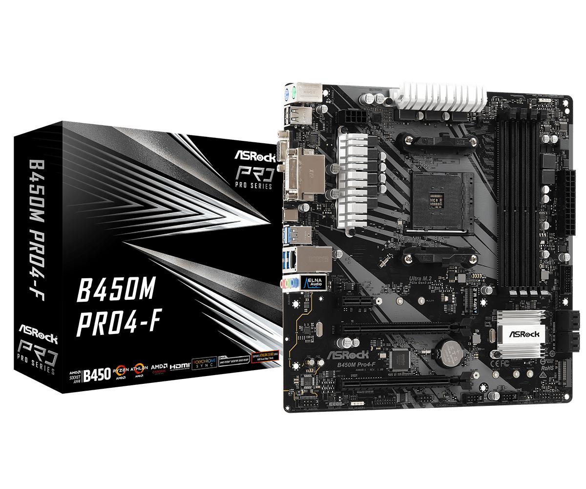 Asrock B450M Pro4-F Presa AM4 Micro ATX AMD B450