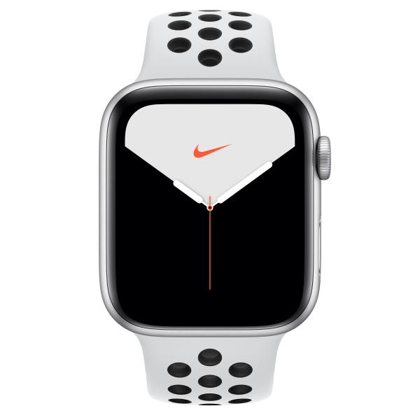 Watch Nike+ Series 5 GPS + Cellular, Aluminium silber, 44 mm mit Nike Sportarmband, pure platinum/schwarz