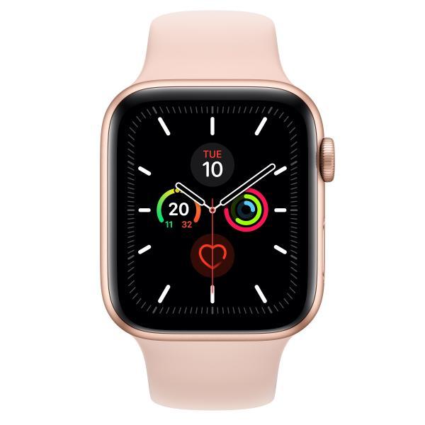 Apple Watch Series 5 GPS, Aluminium gold, 44 mm mit Sportarmband, sandrosa