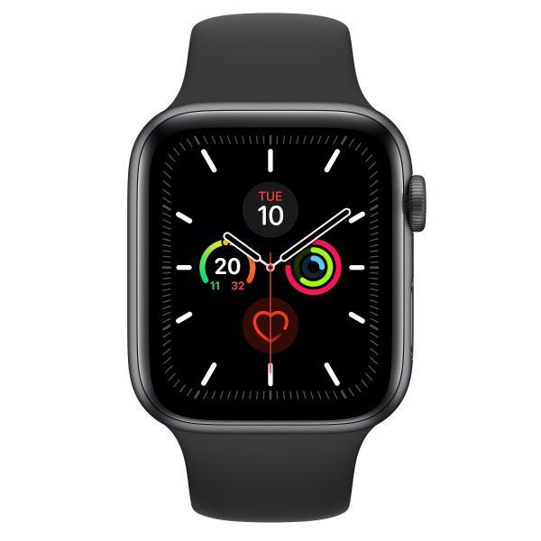 Apple Watch Series 5 GPS, Aluminium space grau, 44 mm mit Sportarmband, schwarz