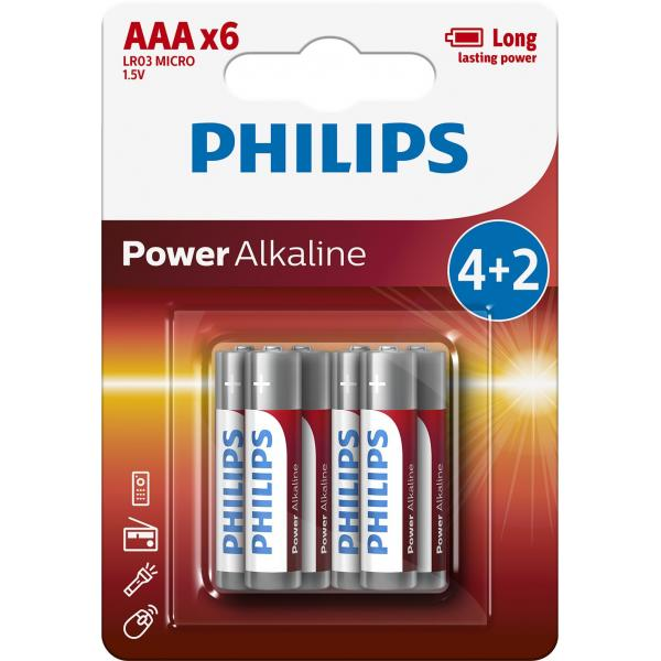 BATTERIE ALKALINE PHILIPS LR03P6BP/10 POWERLIFE MINISTILO