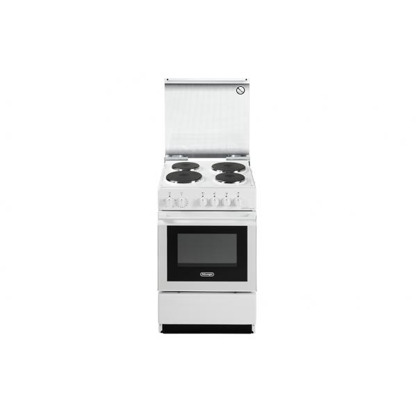 DeLonghi SEW554PN ED - Cucina 50x50, 4 piastre Elettriche, Bianco, Forno Elettrico, A
