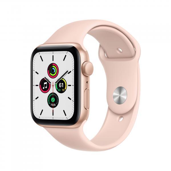 Apple Watch SE GPS 44mm Aluminiumgehäuse Gold Sportarmband Sandrosa