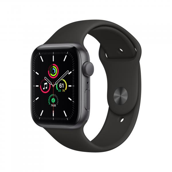 Apple Watch SE GPS 44mm Aluminiumgehäuse Space Grau Sportarmband Schwarz