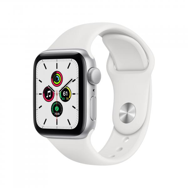 Apple Watch SE GPS 40mm Aluminiumgehäuse Silber Sportarmband Weiß