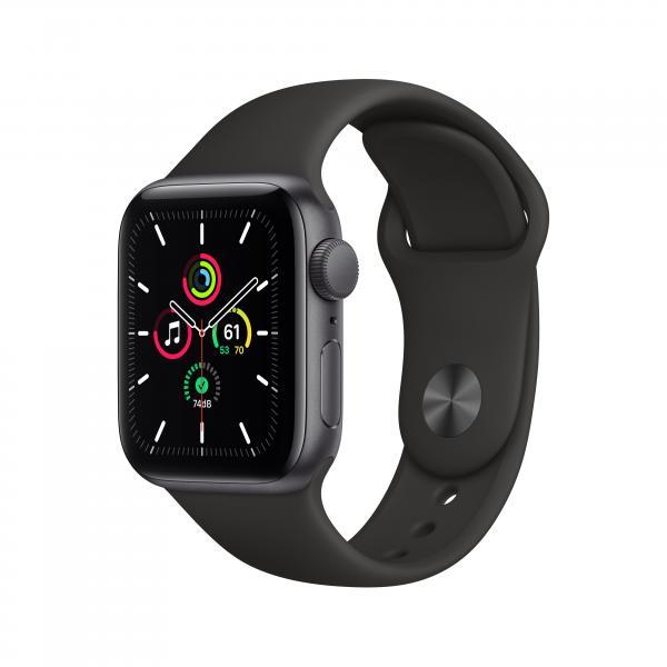 Apple Watch SE GPS 40mm Aluminiumgehäuse Space Grau Sportarmband Schwarz