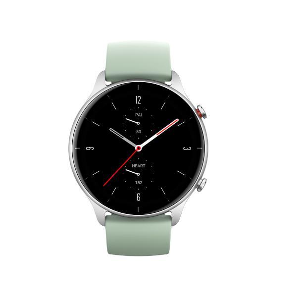 Amazfit GTR 2e Smartwatch GPS HR-Sensor Alu-Gehäuse silber, Armband grün