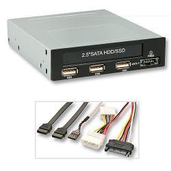 Modulo interno da 3,5'' per HDD SATA da 2,5'' 3 porte USB 2.0 e 1 porta eSATAp 5 & 12 V