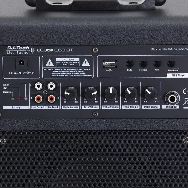 PA SYSTEM A BATTERIA DJTECH UCUBE C60 BT CON MP3 E BLUETOOTH